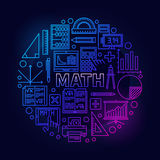Math round bright symbol. Vector colorful mathematics school subject bright sign in thin line style on dark background royalty free illustration