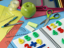 Math's homework. First math's homework in children's note Royalty Free Stock Photos