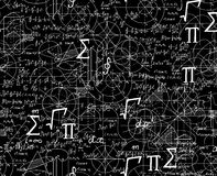 Math scientific vector seamless pattern with formulas, figures, plots shuffled together. Scientific endless texture Royalty Free Stock Images