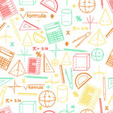 Math seamless whight pattern. Linear style. Math seamless white pattern. Linear style. Knowledge of math and geometry. The geometric shapes. The abacus and the stock illustration