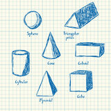 Math shapes doodle Royalty Free Stock Photo