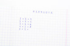 Math on a sheet of paper into a cell Royalty Free Stock Images