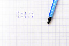 Math on a sheet of paper into a cell Stock Photography