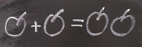 Math simple equation on chalk board. One plus One equals two.  stock photo