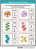 Math skills training puzzle or worksheet with visual fractions. Math skills and IQ training visual puzzle or worksheet for schoolchildren and adults. Circle the royalty free illustration