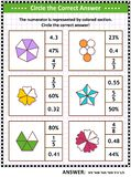 Math skills training puzzle or worksheet with visual fractions. Math skills and IQ training visual puzzle or worksheet for schoolchildren and adults. Circle the stock illustration