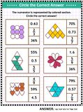 Math skills training puzzle or worksheet with visual fractions. Math skills and IQ training visual puzzle or worksheet for schoolchildren and adults. Circle the vector illustration