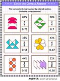 Math skills training puzzle or worksheet with visual fractions. Math skills training visual puzzle or worksheet for schoolchildren and adults. Circle the correct royalty free illustration