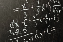 Math solution on the blackboard Stock Image
