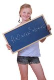 Math student. Smart young math student showing a quadratic equation Stock Images