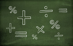 Math symbols. Drawn on a blackboard Stock Photography