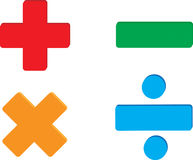 Math symbols. Vector image of addition, subtraction, multiplication and division symbols Stock Photography