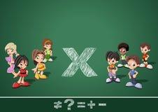 Math symbols and kids Royalty Free Stock Photos