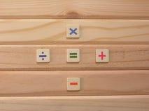 Math symbols on wood