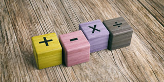 Math symbols on wooden blocks. 3d illustration Royalty Free Stock Images