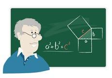 Math teacher. Explaining the Pythagorean theorem Stock Images