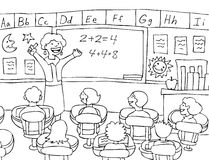Math Teacher - black and white Stock Photo