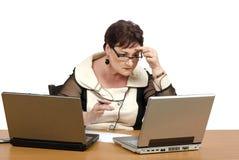 Virtual math teacher checking homeworks Stock Images
