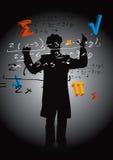 Math teacher. Mathematician, male silhouette with mathematics symbols. Colorful vector illustration Stock Image
