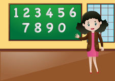 Math teacher teaching how to count numbers royalty free illustration