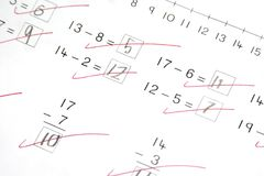 Math Test, Elementary School. Math test at  elementary school level, basic subtraction Royalty Free Stock Photography