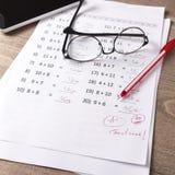 Math Test On Teacher Desk Royalty Free Stock Photo