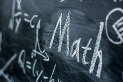 Math Text with some formulas on chalkboard. Math text with some maths formulas on chalkboard background stock image