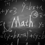 Math Text with some formulas on chalkboard. Math text with some maths formulas on chalkboard background royalty free stock photo