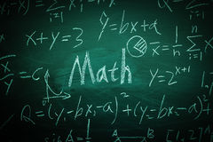 Math Text with some formulas on chalkboard. Math text with some maths formulas on chalkboard background stock photo
