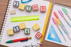 Math toy kids concept. Add addition arithmetic background basic child royalty free stock photo