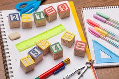Math toy kids concept. Add addition arithmetic background basic child stock photography