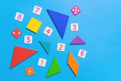 Math toy with number and math for kid education. Math toy with number and math shapes for kid education stock photo