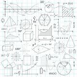 Mathematical Vector Formulary. For School, University and Training. Basic Formulas. Symbols, Signs, Cheat Slip, Math - Geometry Education Templates vector illustration