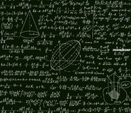 Math vector scientific technical seamless pattern with handwritten formulas, calculations, plots, signs, equations Stock Photos