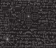 Math vector seamless pattern with algebra and geometry formulas handwritten on a grey chalkboard. Scientific endless texture royalty free illustration