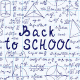 Math vector seamless pattern with handwritten text Stock Photos