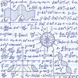 Math vector seamless pattern with science drawings, tasks solutions, plots, figures, formulas, handwritten on a copybook paper Stock Photos