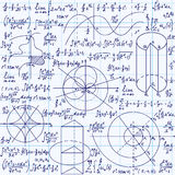 Math vector seamless texture with formulas, plots, algebraic and geometric figures and functions Stock Image