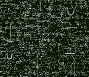 Math vector technical seamless pattern with handwritten formulas, calculations, plots, signs, equations, shuffled together Royalty Free Stock Image