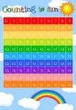Math worksheet for counting to 99. Illustration Stock Images