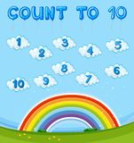 Math worksheet with counting to ten with rainbow in sky royalty free illustration