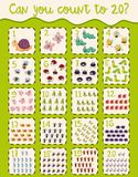 Math worksheet design for counting to twenty Royalty Free Stock Images