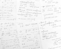 Math world. Mathematics equations on white paper scripts stock photo