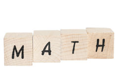 Math Written With Wooden Blocks. Stock Photo