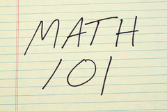 Math 101 On A Yellow Legal Pad Royalty Free Stock Image