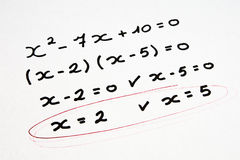 Matheübung Stockbild