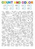 Matheübungen für die Studie von Zahlen Entdeckung, Zählung und Farbe Bedruckbares Arbeitsblatt für Kindergarten und eine Vorschul lizenzfreie abbildung