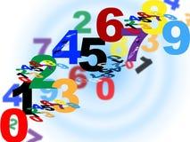 Mathe, das Durchschnitte numerische Zahl und Schablone zählt Lizenzfreies Stockfoto