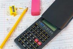 Mathe-Hausarbeit Stockbild