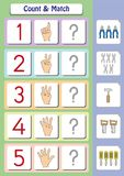 Mathearbeitsblatt für Kindergartenkinder, -zählung und -match Lizenzfreie Stockfotos